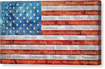 Stars And Stripes With States Canvas Print by Michelle Calkins