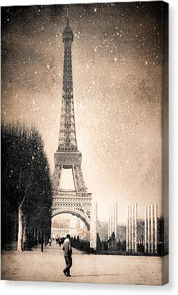 Stars Fall On The Eiffel Tower Canvas Print by Mark E Tisdale