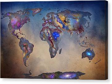 Stars World Map. Blue Canvas Print by Guido Montanes Castillo