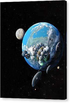 Starship At Alpha Centauri Canvas Print by Don Dixon