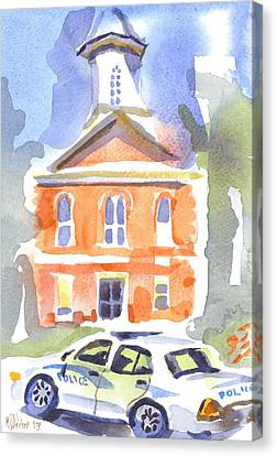 Stately Courthouse With Police Car Canvas Print by Kip DeVore