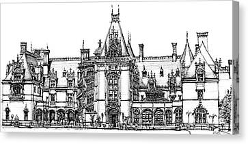 Stately Home In Ink Canvas Print by Adendorff Design