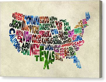 States Of United States Typographic Map - Parchment Style Canvas Print by Ayse Deniz