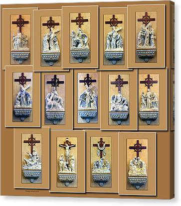 Stations Of The Cross Collage Canvas Print by Thomas Woolworth