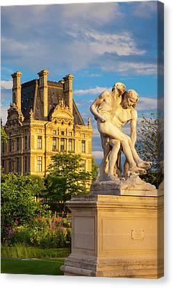 Statue In Jardin Des Tuileries Canvas Print by Brian Jannsen
