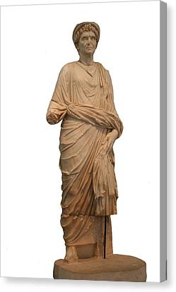 Statue Of A Roman Priest Wearing A Toga Canvas Print by Tracey Harrington-Simpson
