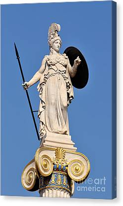 Statue Of Athena Canvas Print by George Atsametakis