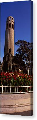 Statue Of Christopher Columbus In Front Canvas Print by Panoramic Images
