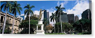 Statue Of King Kamehameha In Front Canvas Print by Panoramic Images