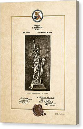 Statue Of Liberty By A. Bartholdi - Vintage Patent Document Canvas Print by Serge Averbukh