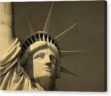 Statue Of Liberty Closeup  Canvas Print by Dan Sproul