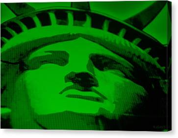 Statue Of Liberty In Green Canvas Print by Rob Hans
