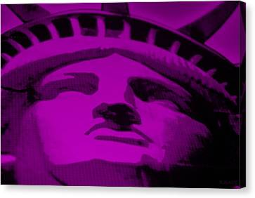 Statue Of Liberty In Purple Canvas Print by Rob Hans