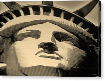 Statue Of Liberty In Sepia Canvas Print by Rob Hans