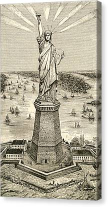 Statue Of Liberty, New York Canvas Print by American School