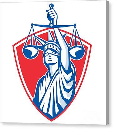 Statue Of Liberty Raising Justice Weighing Scales Retro Canvas Print by Aloysius Patrimonio