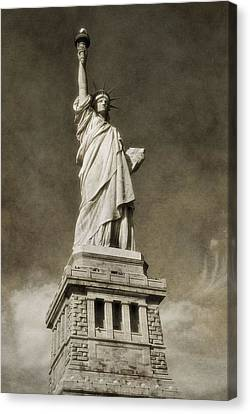 Statue Of Liberty Sepia Canvas Print by Dan Sproul