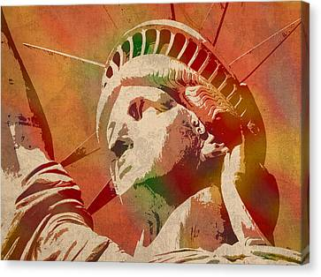 Statue Of Liberty Watercolor Portrait No 1 Canvas Print by Design Turnpike