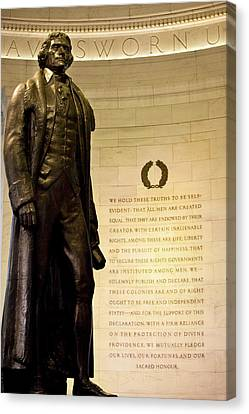 Statue Of Thomas Jefferson With Quote Canvas Print by Brian Jannsen