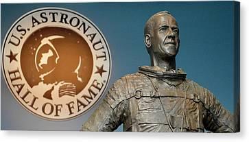 Statue Of Us Astronaut Alan Shepard Canvas Print by Tony Craddock