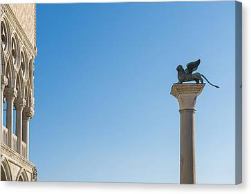 Statue On Top Of A Column Monument Canvas Print by Mats Silvan