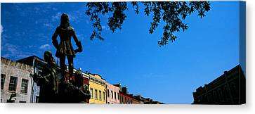 Statues In Front Of Buildings, French Canvas Print by Panoramic Images
