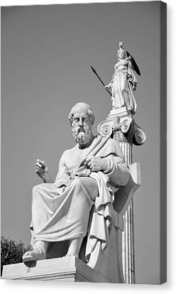 Statues Of Plato And Athina Canvas Print by George Atsametakis