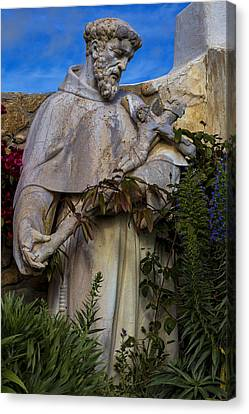 Stature Of Father Junepero Serra  Canvas Print by Garry Gay