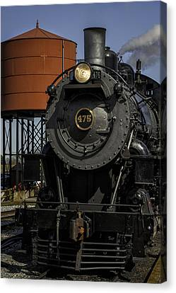 Steam Engine #475 Pulling Into The Strasburg Rr Station  01 Canvas Print by Mark Serfass