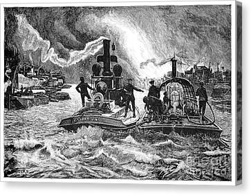 Steam Fireboats, 19th Century Canvas Print by Spl