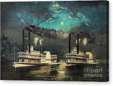 Steamboat Racing On The Mississippi Canvas Print by Lianne Schneider