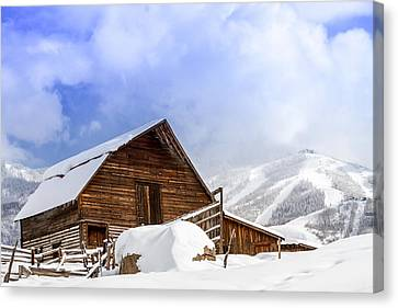 Steamboat Springs Barn And Ski Area Canvas Print by Teri Virbickis