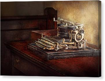 Steampunk - A Crusty Old Typewriter Canvas Print by Mike Savad