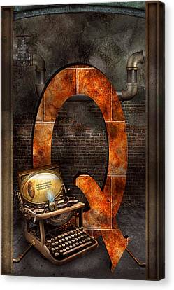 Steampunk - Alphabet - Q Is For Qwerty Canvas Print by Mike Savad
