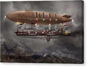 Steampunk - Blimp - Airship Maximus  Canvas Print by Mike Savad
