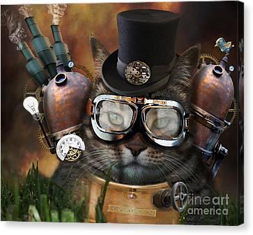 Steampunk Cat Canvas Print by Juli Scalzi
