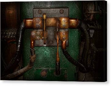 Steampunk - Electrical - Pull The Switch  Canvas Print by Mike Savad