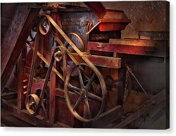 Steampunk - Gear - Belts And Wheels  Canvas Print by Mike Savad