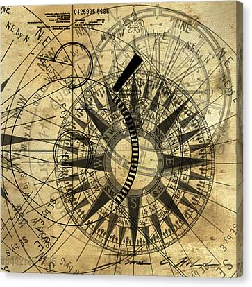 Steampunk Gold Compass Canvas Print by James Christopher Hill