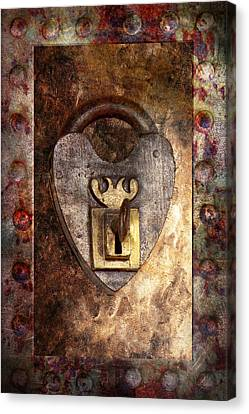 Steampunk - Locksmith - The Key To My Heart Canvas Print by Mike Savad