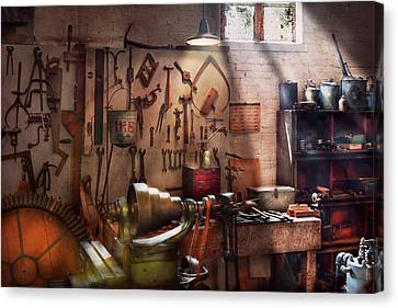 Steampunk - Machinist - The Inventors Workshop  Canvas Print by Mike Savad