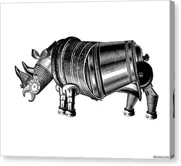 Steampunk Rhinoceros Canvas Print by Eric Edelman