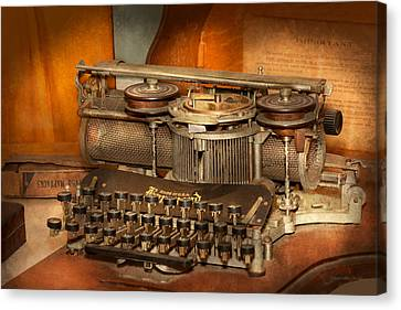 Steampunk - The History Of Typing Canvas Print by Mike Savad