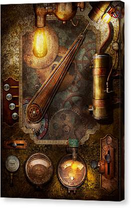 Steampunk - Victorian Fuse Box Canvas Print by Mike Savad