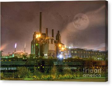 Steel Mill At Night Canvas Print by Juli Scalzi