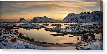 Steinefjord At Sunset, Lofoten Canvas Print by Panoramic Images