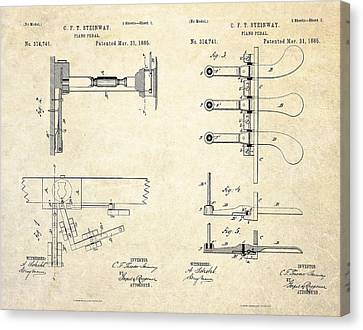 1885 Steinway Piano Pedal Patent Art Canvas Print by Gary Bodnar