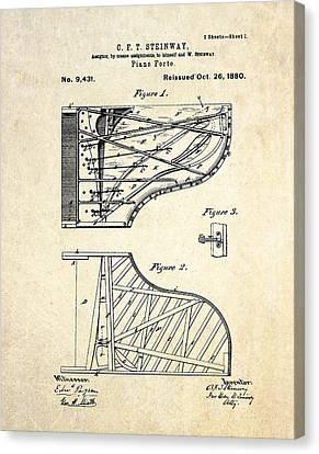 1880 Steinway Pianoforte Patent Art  Canvas Print by Gary Bodnar