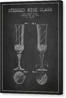 Stemmed Wine Glass Patent From 1988 - Charcoal Canvas Print by Aged Pixel