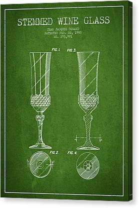 Stemmed Wine Glass Patent From 1988 - Green Canvas Print by Aged Pixel